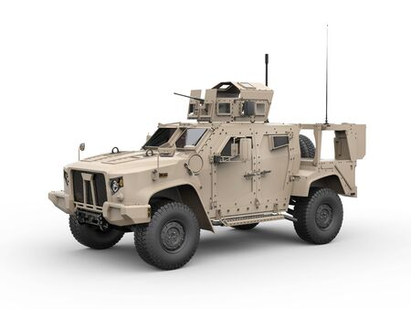 vehicle combat: Light combat all terrain military vehicle - side view Stock Photo
