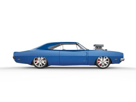 Vintage blue muscle car - side view Stock Photo