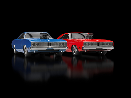 reflective: Blue and red muscle cars on black reflective background Stock Photo