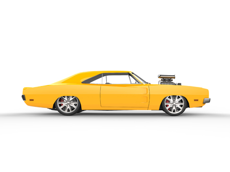 legendary: Vintage yellow muscle car - side view Stock Photo