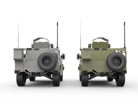 tactical: Military all terrain tactical vehicles - green and grey - rear view