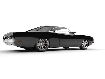 Black muscle car - rear side view