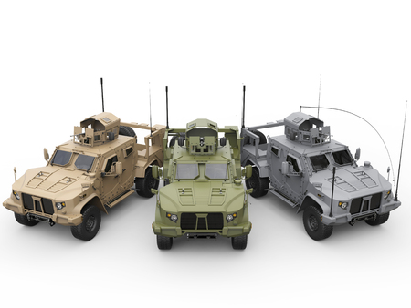 Three military all terrain vehicles - desert, jungle and urban camo colors - top view