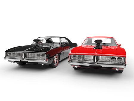 Black and red vintage muscle cars - studio shot