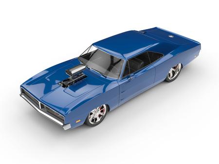 studio lighting: Cool blue muscle car - top view - studio lighting