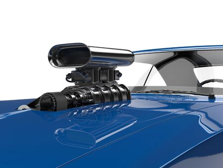 collectibles: Cool blue muscle car - engine closeup shot