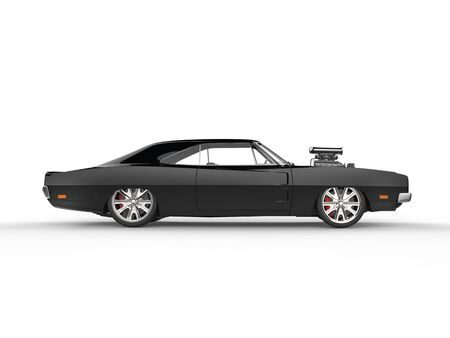 car side view: Vintage black muscle car - side view Stock Photo
