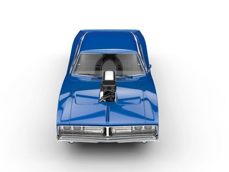 collectible: Cool blue muscle car - top view Stock Photo