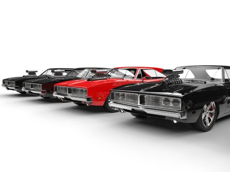 collectibles: Row of muscle cars - red standing out