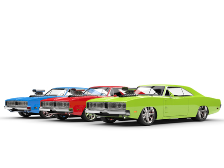 collectibles: RGB muscle cars - isolated on white background