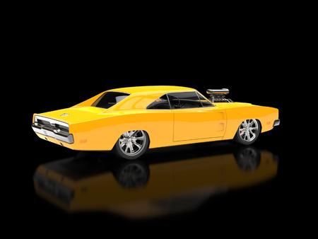 showroom: Yellow muscle car - black showroom