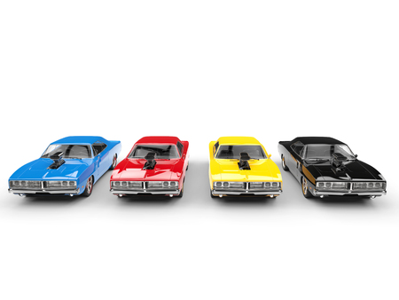 Colorful vintage muscle cars in a row - front view