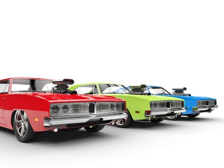 collectibles: Red, green and blue muscle cars in a row Stock Photo