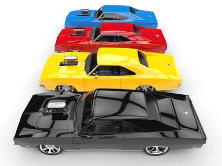 Colorful vintage muscle cars in a row - side view