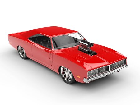 Vintage red muscle car -  studio shot Stock Photo