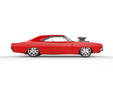 car side view: Vintage red muscle car - side view