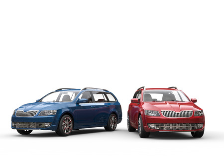 Blue and red family cars