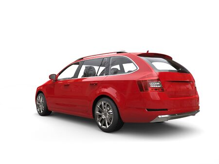 rear view: Crimson red family car - rear view