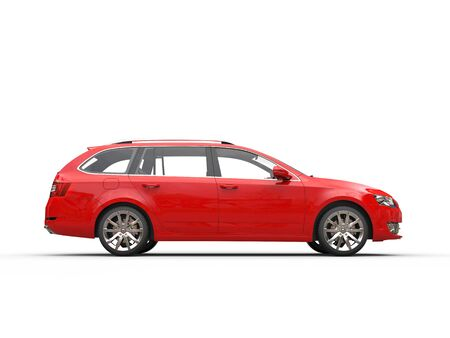 car side view: Red family car - side view