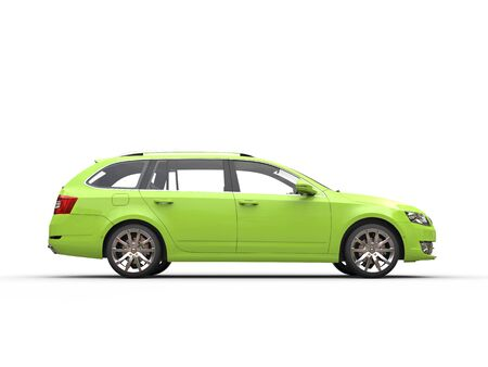 car side view: Green family car - side view