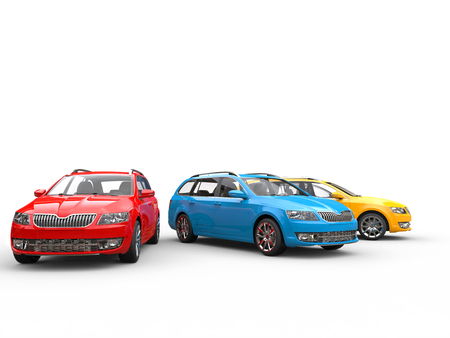 Red, blue and yellow family cars Stock Photo