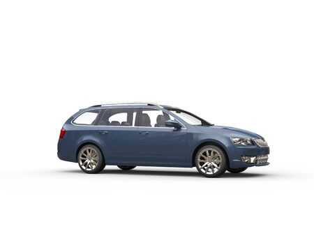 car side view: Grey blue family car - side view Stock Photo