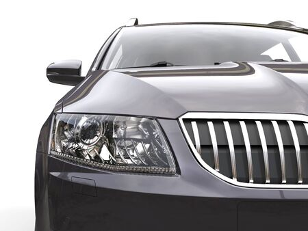 Headlight and front chrome grille closeup shot