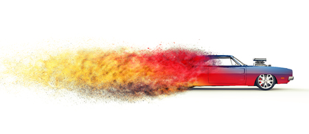 Colorful vintage muscle car - disintegration effect Stock Photo