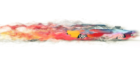 Vintage colorful muscle car - smoke trail visual effect