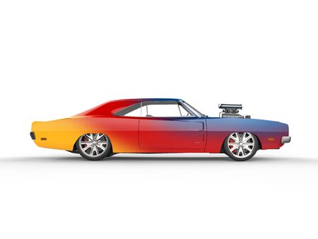 collectibles: Colorful vintage muscle car - side view Stock Photo
