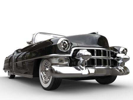 Vintage black car - extreme closeup shot - low angle