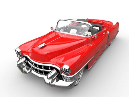 Vintage red car - top angle shot