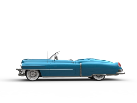 collectibles: Cool vintage car - metallic blue - side view