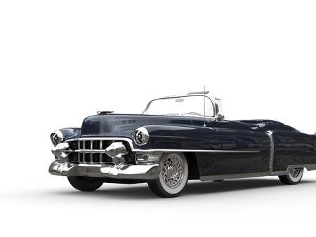 Dark blue oldtimer car - isolated on white background Stock Photo