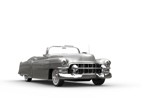 Silver vintage cool car - front view