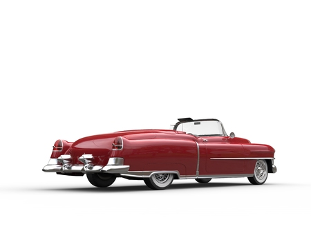 Retro vintage red car - back view Stock Photo