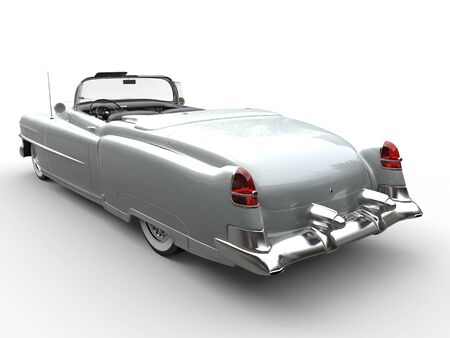collectibles: Cool silver oldtimer car - rear view Stock Photo