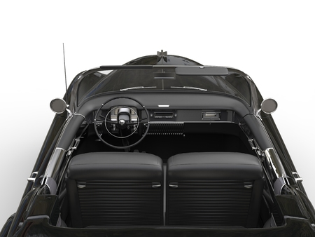 collectibles: Black vintage cabriolet car -  interior view from the back