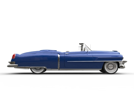 collectible: Cool blue retro vintage car - side view