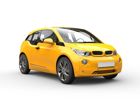 Yellow small eco car Stock Photo