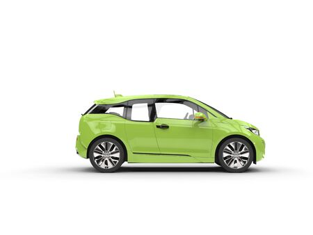 car: Green electric car - side view
