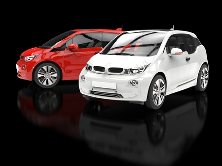 Red and white small cars on black reflective background
