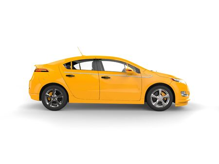 car: Modern business yellow electric car - side view