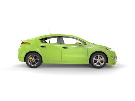 car: Modern business green electric car - side view Stock Photo