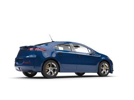 Modern business blue electric car - rear view
