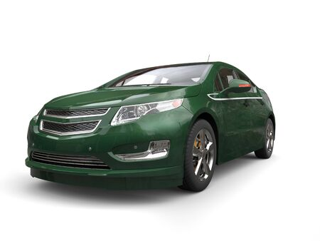 Dark green modern business electric car - front view - low angle