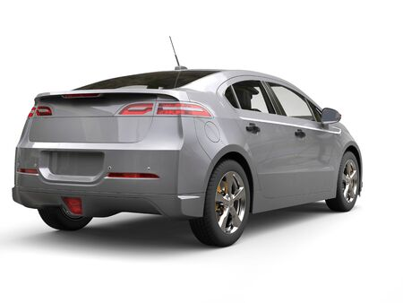 Silver grey modern business electric car - rear view