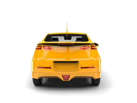 Modern business yellow electric car - rear view
