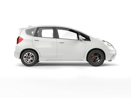 car: White modern compact electric car - side view