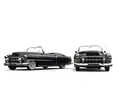 Two awesome black vintage cars - studio lighting shot Stock Photo